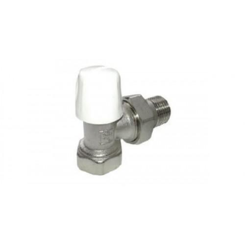 Блок-кран (радиаторный)  1/2-1/2 угловой с маховиком никель...