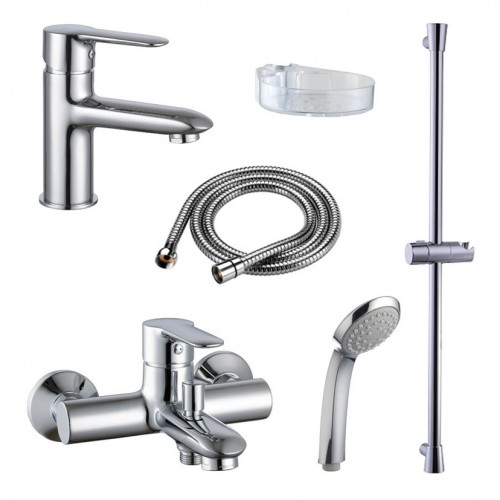 Гарнитур для ванной IDDIS Prima Set PST0000I70 (2 смесителя, стойка,лейка,шланг )...
