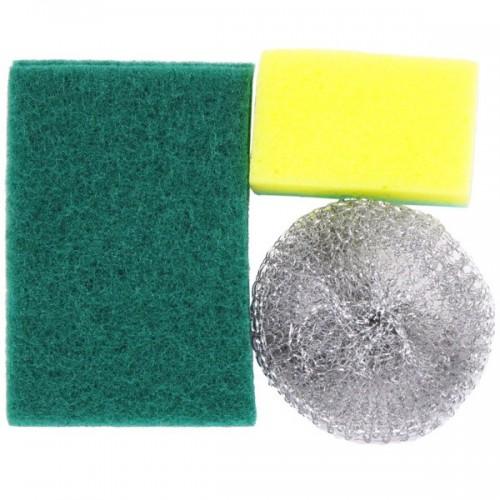 Губка для посуды набор 3шт (поролон+абразив/поролон+металлич.)...