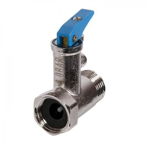 """Клапан предохранительный для водонагревателя 1/2"""" 8 бар (с синей ручкой)..."""