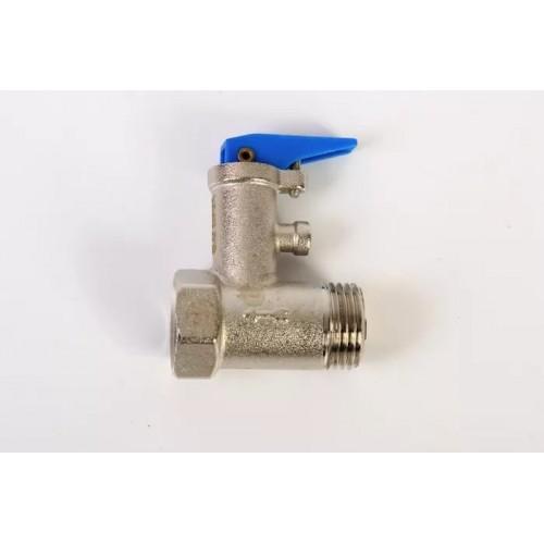 """Клапан предохранительный для водонагревателя 1/2"""" 6 бар (с бордовой ручкой)..."""