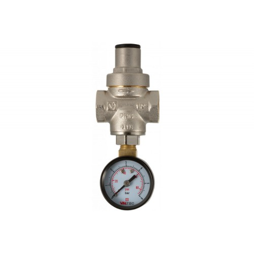 """Клапан редукционный для воды 1/2"""" с манометром никель VALTEC (0,5-5,5 бар) (VT088)..."""