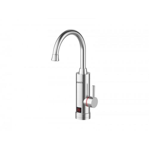 """Кран-водонагреватель проточного типа (выс. излив+  дисплей t) 3кВт, 0,4-6 бар., 1/2"""" OASIS KP-S..."""