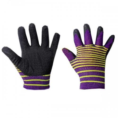Перчатки нейлоновые с обрезин. ладошкой, стрейч нитка, в полоску...