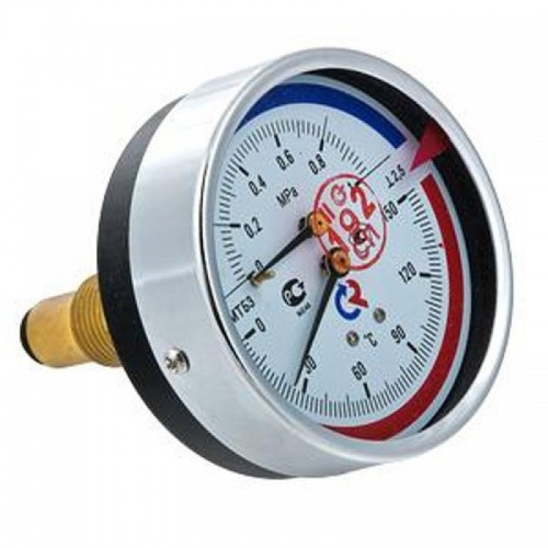 "Термоманометр 1/2"" ТМТБ-31Т  ДУ80 с задним подключением 10 бар 0-120°..."