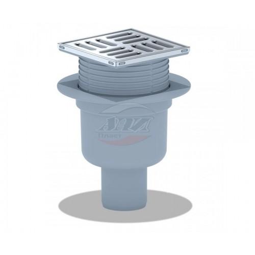 Трап вертикальн. вып. ф50  н/сталь решетка 100*100 регулировка сухой TQ5712/уп. 1шт....