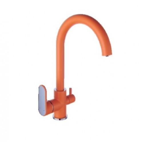 Смеситель для кухни DIADONNA  плав. ручка, d35мм, Оранж/Хром, высокий изл., D91446117SY...