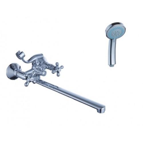 Смеситель для ванны DIADONNA  L- излив,  крест, мет/кер, лейка 2х реж., 80223314...