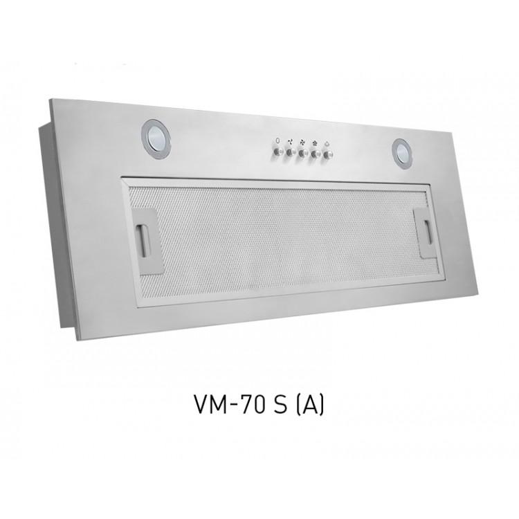 Вытяжка кухонная встр. OASIS VM-70S (700мм, 600м3/час, LED/1, 102Вт, AL фильтр, СТАЛЬ)