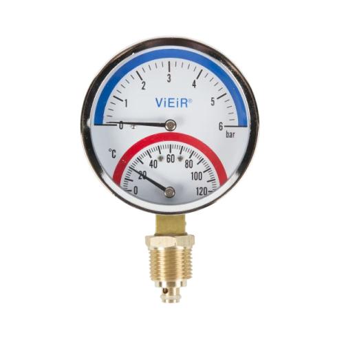 """Термоманометр с отсекателем 1/2"""" радиальный  80 мм 0-6 бар, 0-120° С ViEiR..."""