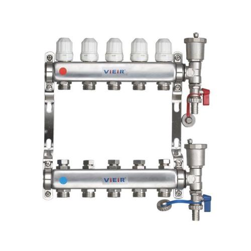 """Коллекторная группа с расходомерами и термостатическими клапанами 1""""х5 вых 3/4"""" НЕРЖ ViEiR..."""
