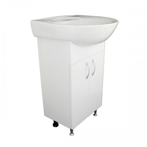 Умывальник мебельный с тумбой Оптима 55 белый с отверстием и переливом...