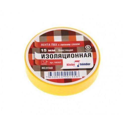 Изолента ПВХ 15мм*20м желтая Klebebander...